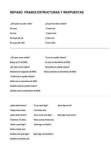 repaso de frases, estructuras, formas verbales