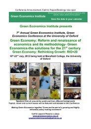 2012 July Green Economics Oxford UniversityAnnual Conference
