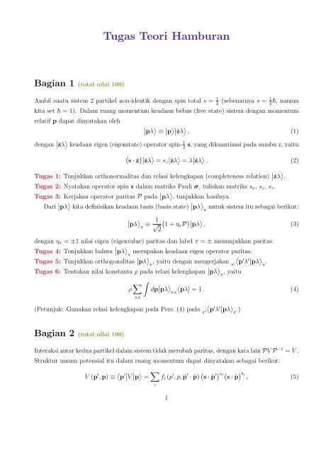 Tugas Teori Hamburan Bagian 1 (total nilai 100)