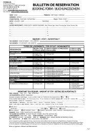 bulletin de reservation booking form / buchungsschein - Coralia
