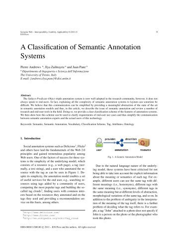 A Classification of Semantic Annotation Systems - Semantic Web ...