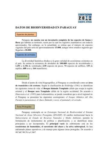 DATOS DE BIODIVERSIDAD EN PARAGUAY - Countdown 2010