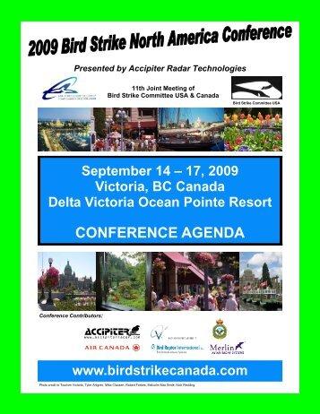 CONFERENCE AGENDA - Bird Strike North America Conference.