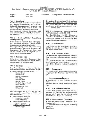 Niederschrift der Jahreshaupt- versammlung am 13.04.2004