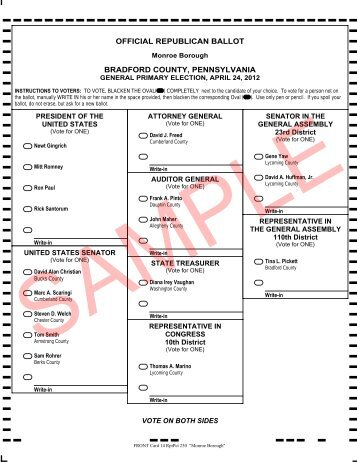 official republican ballot bradford county, pennsylvania
