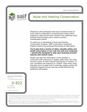 Noise and Hearing Conservation - SAIF Corporation