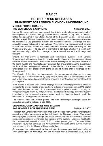 MAY 07 EDITED PRESS RELEASES