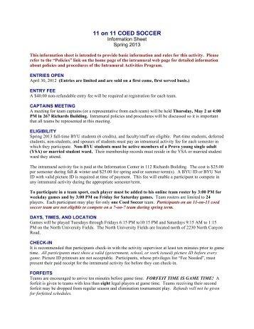 Info Sheet Spring - Brigham Young University