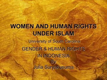 WOMEN AND HUMAN RIGHTS UNDER ISLAM University of ... - LFIP