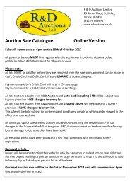 Auction Sale Catalogue Online Version - R&D Auctions