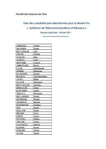 Liste des candidats pré-sélectionnés pour le Master Pro ... - Fst
