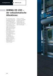 DORMA ED 200 – der vollautomatische Alleskönner. - RWA-Berlin