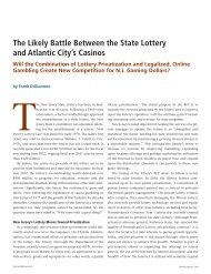The Likely Battle Between the State Lottery and ... - Duane Morris LLP