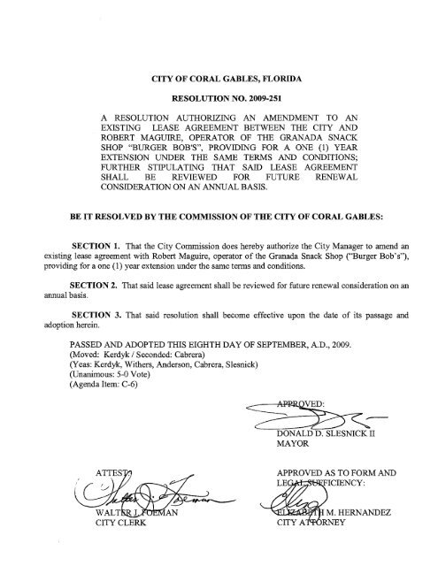 a resolution authorizing an amendment to an existing lease ...