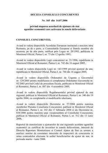 DECIZIA CONSILIULUI CONCURENTEI Nr. 165 din 14.07.2006 ...