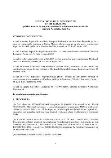 1 DECIZIA CONSILIULUI CONCURENTEI Nr. 118 din 16.05.2006 ...