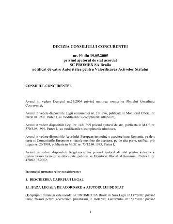 DECIZIA CONSILIULUI CONCURENTEI nr. 90 din 19.05.2005 ...