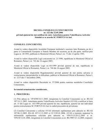 DECIZIA CONSILIULUI CONCURENTEI nr. 122 din 22.05.2006 ...