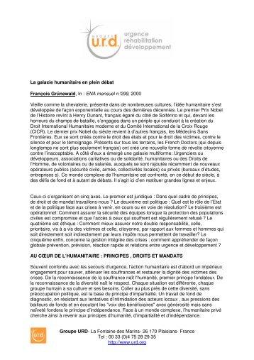 La galaxie humanitaire en plein débat - Groupe URD