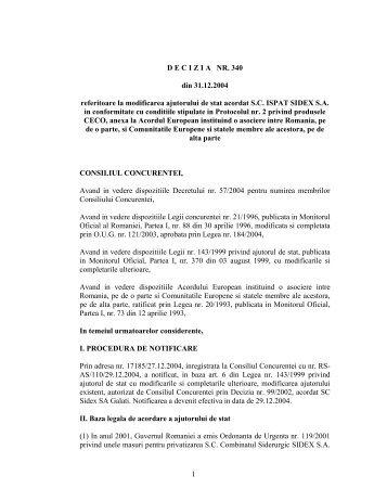 DECIZIA NR. 340 din 31.12.2004 referitoare la - Reteaua Nationala ...