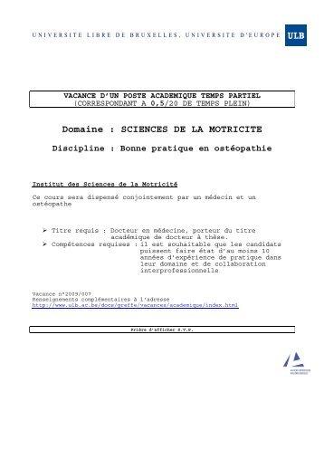 Domaine : SCIENCES DE LA MOTRICITE - Université Libre de ...