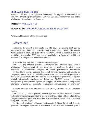 LEGE nr. 146 din 23 iulie 2012 pentru modificarea şi ... - M.A.I. - D.G.A.