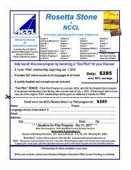 Rosetta Stone fall 2011 flyer - NCCL