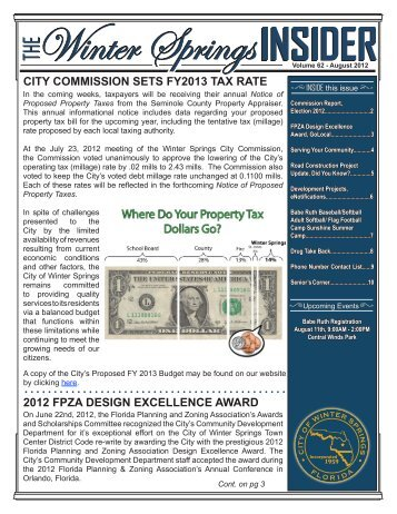 Monthly Newsletter - August 2012 - City of Winter Springs