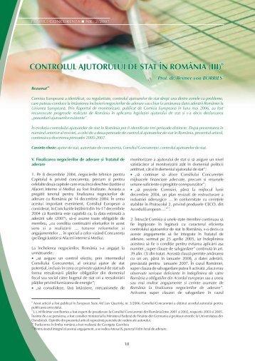 controlul ajutorului de stat în românia (iii)