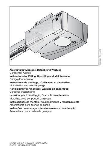 Anleitung für Montage, Betrieb und Wartung ... - Motorisation Plus