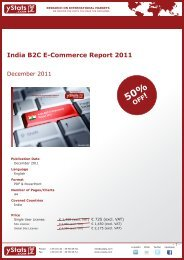 India B2C E-Commerce Report 2011 - yStats.com