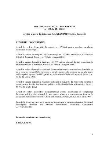 1 DECIZIA CONSILIULUI CONCURENTEI nr. 192 din 12.10.2005 ...