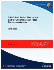 CNSC Staff Action Plan on the CNSC Fukushima Task Force ...
