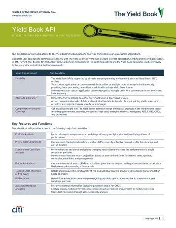 Yield Book API - The Yield Book