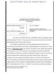order denying motion to disqualify counsel and exclude experts