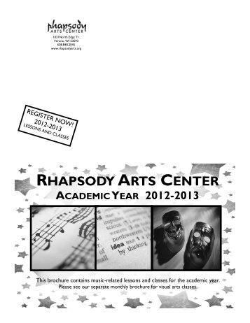 2012-13 academic year brochure - Rhapsody Arts Center