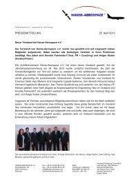 PRESSEMITTEILUNG 25. April 2013 - HANSE AEROSPACE e.V