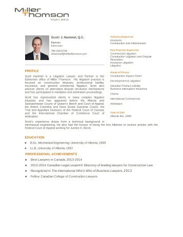Scott J. Hammel, Q.C. PROFILE EDUCATION ... - Miller Thomson