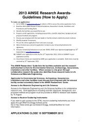 2013 AINSE Research Awards- Guidelines (How to Apply)
