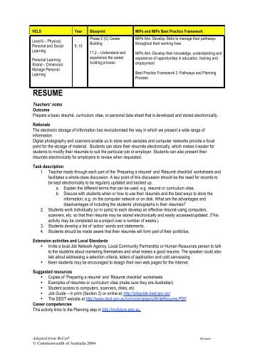 outline for preparing your resume and addendum tax