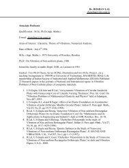 Dr. ROSHAN LAL rlatmfma@iitr.ernet.in Associate Professor ...