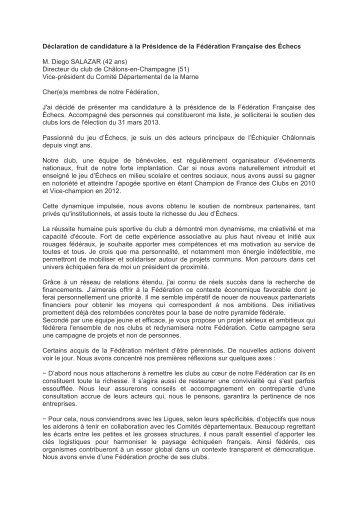 Déclaration de candidature à la Présidence de la ... - Europe Echecs