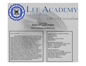 Senior (12th grade) English - Lee Academy