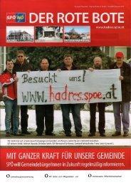 oJahreshauptversammlung oWir laden zum ... - Hadres - SPÖ