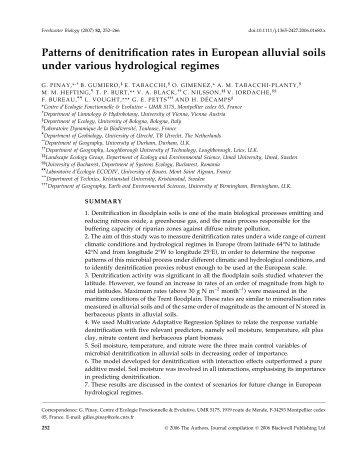 Patterns of denitrification rates in European alluvial soils ... - CESEC