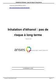 Inhalation d'éthanol : pas de risque à long terme - acmo rhone-alpes