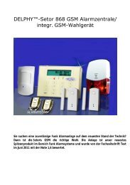 "DELPHYâ""¢-Setor 868 GSM Alarmzentrale ... - DELPHY alarmsysteme"