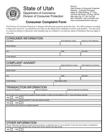 Delightful Consumer Complaint Form   Utah Division Of Consumer Protection .