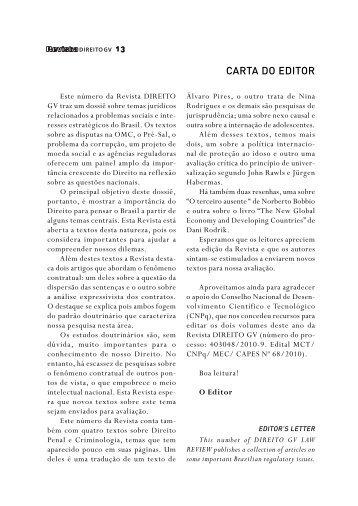 CARTA DO EDITOR - Escola de Direito de São Paulo