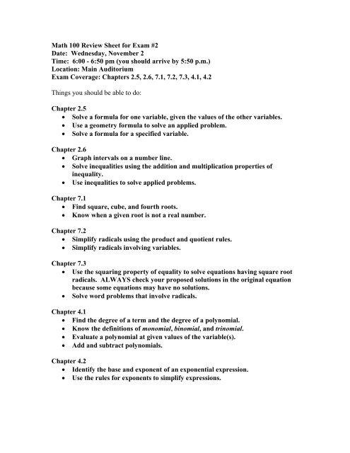 Math 100 Review Sheet For Exam 2 Date Wednesday November 2